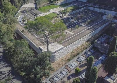 Murs de soutènements et Stationnements réalisés en Modul'Matricé pour le Cimetière de la Rine à Biot